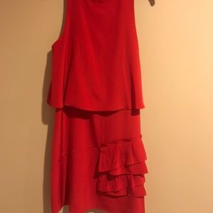Red Tibi Cocktail Dress with ruffle